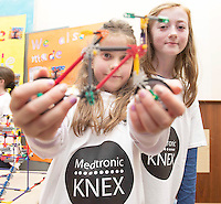 Doireann Morrison and Niamh Farrell from Buaile Beag Rahoon at the Medtronic Community Event , comprising of projects about Healthy Living and the heart, KNEX finals and Lean Sigma catapult competition organised by the Galway Education Centre at the Radisson Blu Hotel Galway. Photo:Andrew Downes.