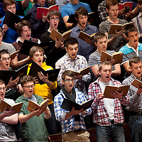 National Youth Choir of Scotland - Pictured during rehearsals and during performance at their 15th Anniversary Gala Concert at the Usher Hall, Edinburgh (Sunday 25th September 2011), performing William Walton's Belshazzar's Feast..Picture  © Drew Farrell..The highlight of the celebrations marking 15 years of The National Youth Choir of Scotland conducted by NYCoS Artistic Director, Christopher Bell, and joined by the Royal Scottish National Orchestra, the choir of 180 past and present members delivered a compelling performance...www.drewfarrell.com    Tel :  07721-735041.If you require any more information please contact Vicky Tibbett @The National Youth Choir of Scotland Tel : 0141 287 2856 . Note to Editors:  This image is free to be used editorially in the promotion of The National Youth Choir of Scotland. Without prejudice ALL other licences without prior consent will be deemed a breach of copyright under the 1988. Copyright Design and Patents Act and will be subject to payment or legal action, where appropriate..