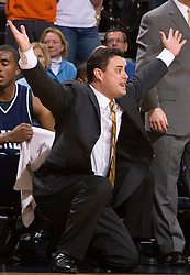 Xavier head coach Sean Miller motivates his team in action against UVA.  The #22 ranked Xavier Musketeers defeated the Virginia Cavaliers 84-70 at the John Paul Jones Arena on the Grounds of the University of Virginia in Charlottesville, VA on January 3, 2009.