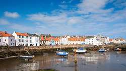 View of harbour in historic fishing village of St Monans in the East Neuk of Fife , Scotland, United Kingdom