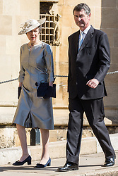 Windsor, UK. 21st April 2019. Princess Anne, Princess Royal, arrives with Vice Admiral Sir Timothy Laurence to attend the Easter Sunday service at St George's Chapel in Windsor Castle.
