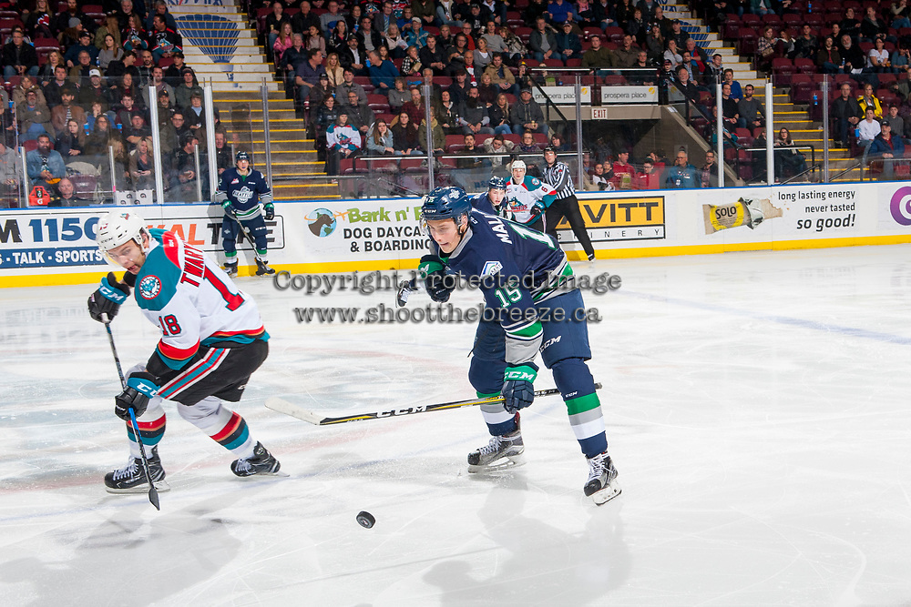 KELOWNA, CANADA - JANUARY 5: Nikita Malukhin #15 of the Seattle Thunderbirds tries to block a pass to Carsen Twarynski #18 of the Kelowna Rockets on January 5, 2017 at Prospera Place in Kelowna, British Columbia, Canada.  (Photo by Marissa Baecker/Shoot the Breeze)  *** Local Caption ***