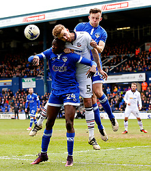 Mark Beevers of Bolton Wanderers challenges Ousmane Fane of Oldham Athletic - Mandatory by-line: Matt McNulty/JMP - 15/04/2017 - FOOTBALL - Boundary Park - Oldham, England - Oldham Athletic v Bolton Wanderers - Sky Bet League 1