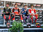 Jun 23  2018  Monterey, CA, U.S.A  Race # 1 winners 1st Jonathan Rea, 2nd Chaz Davies, 3rd Alex Lowes and 4th Eugene Laverty during the riders podium after the Motul FIM World Superbike Race # 1 at Weathertech Raceway Laguna Seca  Monterey, CA  Thurman James / CSM