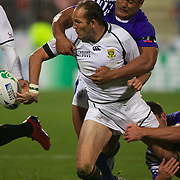 Fourie Du Preez, South Africa, gets the ball away during the South Africa V Samoa, Pool D match during the IRB Rugby World Cup tournament. North Harbour Stadium, Auckland, New Zealand, 30th September 2011. Photo Tim Clayton...