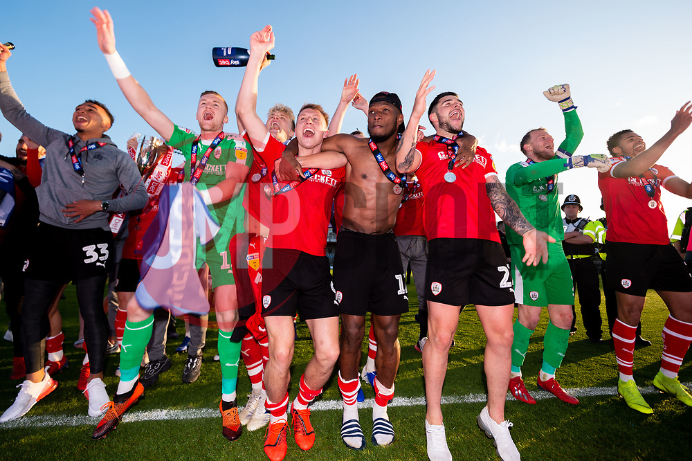 Barnsley celebrate after the final whistle of the match after Barnsley secure automatic promotion to the Sky Bet Championship - Mandatory by-line: Ryan Hiscott/JMP - 04/05/2019 - FOOTBALL - Memorial Stadium - Bristol, England - Bristol Rovers v Barnsley - Sky Bet League One