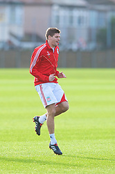 LIVERPOOL, ENGLAND - Tuesday, December 8, 2009: Liverpool's captain Steven Gerrard MBE during a training session at Melwood ahead of the UEFA Champions League Group E match against AFC Fiorentina. (Pic by David Rawcliffe/Propaganda)