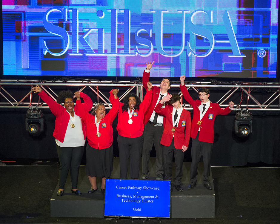 The 2017 SkillsUSA National Leadership and Skills Conference Competition Medalists were announced Friday, June 23, 2017 at Freedom Hall in Louisville. <br /> <br /> Career Pathways - Business, Management and Technology<br /> <br /> Team FD (consisting of Joshua Jaffe, David J Bryson, Maxwell G Kotlan)<br />   High School Mayfield High School<br />   Gold Cleveland, OH<br /> Career Pathways - Business, Management and TechnologyTeam SA (consisting of Madison Dulaney, Dylan Quail, Matthew Opara)<br />   High School Millstream Career Center<br />   Silver Findlay, OH<br /> Career Pathways - Business, Management and TechnologyTeam NA (consisting of Pritika Paramasivam, Aditi Merchant, Ridha Mirza)<br />   High School Westwood High School<br />   Bronze Austin, TX<br /> Career Pathways - Business, Management and TechnologyTeam RB (consisting of Essence Jones, Adrainne Thompson, Jacquelyn Durgan)<br />   College Georgia Piedmont Technical College<br />   Gold Clarkston, GA<br /> Career Pathways - Business, Management and TechnologyTeam RA (consisting of Alexander Woodham, Lynda Carrell, Aaron Keyser)<br />   College Manatee Tech College<br />   Silver Bradenton, FL<br /> Career Pathways - Business, Management and TechnologyTeam SB (consisting of Dawn Myrick, Abby Walters, Antonese Roberts)<br />   College Tennessee College of Applied Tech-Nashville<br />   Bronze Nashville, TN