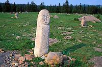 Mongolie, Province de Tov, Monastere de Manshir, Stèle à tête d'homme // Mongolia, Tov province, Manshir monastery, man head stone