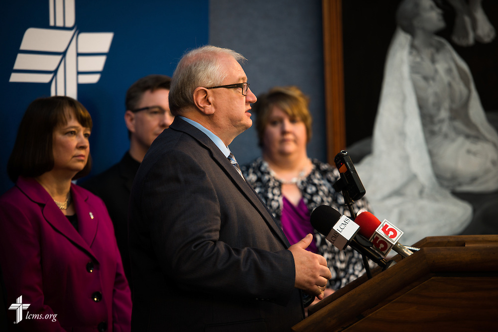 The Rev. Dr. Kevin Voss, director of the Concordia Bioethics Institute at Concordia University in Mequon, Wis., speaks at a press conference with fellow members of the LCMS Sanctity of Life Committee, in light of the recent undercover video regarding Planned Parenthood, on Thursday, July 16, 2015, at the International Center of The Lutheran Church–Missouri Synod. LCMS Communications/Erik M. Lunsford
