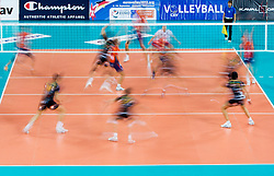 Players during volleyball match between ACH Volley and Lube Banca Marche Macerata (ITA) in 5th Leg of Pool D of 2013 CEV Champions League on December 5, 2012 in Arena Stozice, Ljubljana, Slovenia. ACH defeated Macerata 3-1. (Photo By Vid Ponikvar / Sportida)