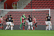 Southampton Olufela Olomola heads Southampton 2-0 up with a goal during the Barclays U21 Premier League match between U21 Southampton and U21 Manchester United at the St Mary's Stadium, Southampton, England on 25 April 2016. Photo by Phil Duncan.