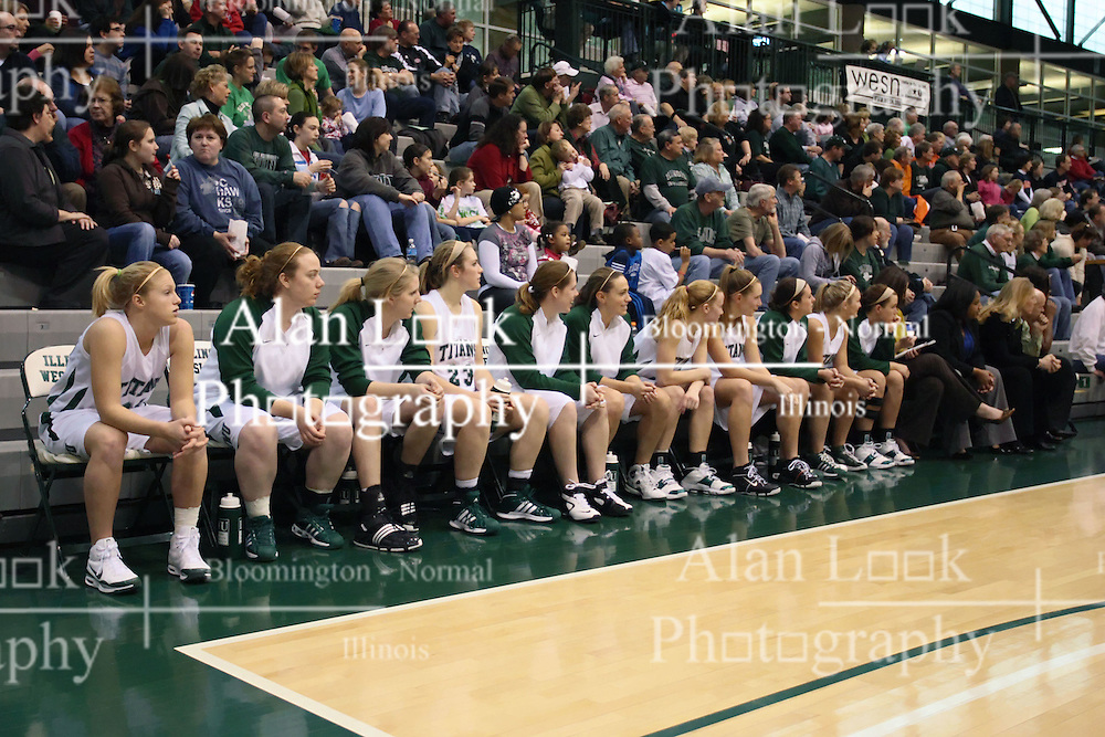10 January 2009: Titan bench. The Lady Titans of Illinois Wesleyan University downed the and Lady Thunder of Wheaton College by a score of 101 - 57 in the Shirk Center on the Illinois Wesleyan Campus in Bloomington Illinois.