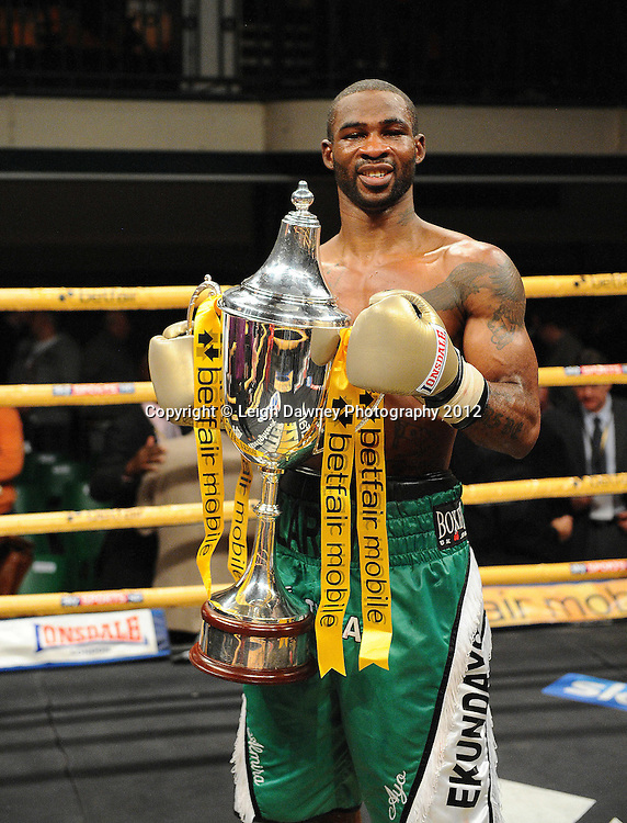 Larry Ekundayo defeats Terry Carruthers in final to claim the Prizefighter Light Middleweights Title at York Hall, Bethnal Green, London on the 1st November 2012. Frank Warren Promotions. © Leigh Dawney Photography 2012.