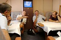 """10 AUG 2003, LUFTRAUM/GERMANY:<br /> Wolfgang Schneiderhan, Generalinspekteur der Bundeswehr, Peter Struck, SPD, Bundesverteidigungsminister, Rolf Kramer, MdB, Christian Schmidt, MdB, (v.L.n.R.), im Gespraech, in einem Konferenzraum des Airbus A310 """"Konrad Adenauer"""" der Flugbereitschaft der Bundesluftwaffe<br /> IMAGE: 20030810-01-024<br /> KEYWORDS: Bundeswehr, Streitkraefte, Streitkräfte, Praesidentenmaschine, Präsidentenmaschine, Luftwaffe, Airforce No 1, Flugzeug, Plane, Gespräch"""
