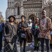 Westminster Abbey,London UK 27th March 2017 Toyin Agbetu out side WestMinster Abbey on the 1Oth anniversary and act of remembrance of his Challenge of the British Goverment and Monarchy and church as they held a religious celebration for William Wilberforce in WestMinster Abbey.