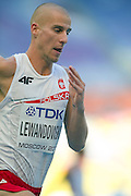 Marcin Lewandowski from Poland competes in men's 800 meters qualification during the 14th IAAF World Athletics Championships at the Luzhniki stadium in Moscow on August 10, 2013.<br /> <br /> Russian Federation, Moscow, August 10, 2013<br /> <br /> Picture also available in RAW (NEF) or TIFF format on special request.<br /> <br /> For editorial use only. Any commercial or promotional use requires permission.<br /> <br /> Mandatory credit:<br /> Photo by &copy; Adam Nurkiewicz / Mediasport