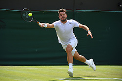 Stan Wawrinka (SUI) plays his second round match at the 2019 Wimbledon Championships at the AELTC in London, UK, on July 3, 2019. Photo by Corinne Dubreuil/ABACAPRESS.COM
