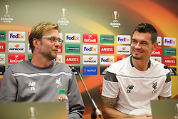 LIVERPOOL, ENGLAND - Wednesday, November 25, 2015: Liverpool's manager Jürgen Klopp and Dejan Lovren during a press conference at Melwood Training Ground ahead of the UEFA Europa League Group Stage Group B match against FC Girondins de Bordeaux. (Pic by David Rawcliffe/Propaganda)