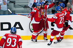 Team Czech Republic celebrate goal during ice-hockey match between Czech Republic and Latvia of Group D of IIHF 2011 World Championship Slovakia, on April 30, 2011 in Orange Arena, Bratislava, Slovakia. (Photo by Matic Klansek Velej / Sportida)