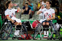 Alfie Hewett (R) and Gordon Reid of the UK play against Stephane Houdet (out of frame) and Nicolas Peifer (out of frame) of France in the Tennis Men's Doubles Gold Medal Match during Day 8 of the Rio 2016 Summer Paralympics Games on September 15, 2016 in Olympic Tennis Centre, Rio de Janeiro, Brazil. Photo by Vid Ponikvar / Sportida