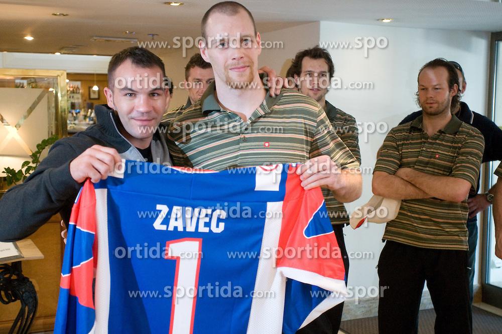 Dejan Zave,  Andrej Tavzelj, David Rodman and Andrej Hebar at meeting of Slovenian Ice-Hockey National team and boxer Dejan Zavec - Jan Zaveck alias Mister Simpatikus, on April 15, 2010, in Hotel Lev, Ljubljana, Slovenia.  (Photo by Vid Ponikvar / Sportida)
