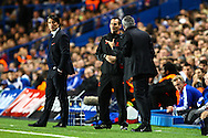 Picture by Daniel Chesterton/Focus Images Ltd +44 7966 018899<br /> 18/09/2013<br /> Chelsea manager Jos&eacute; Mourinho argues with the fourth official during the UEFA Champions League match at Stamford Bridge, London.