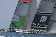 South Africa's Shosholoza team and Spain's Desafio Espanola team go neck and neck at start of America's Cup fleet race; Valencia, Spain.