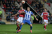 Brighton & Hove Albion central midfielder Beram Kayal (7) and Tom Adeyemi (Rotherham United) fight for the ball during the EFL Sky Bet Championship match between Rotherham United and Brighton and Hove Albion at the AESSEAL New York Stadium, Rotherham, England on 7 March 2017. Photo by Mark P Doherty.