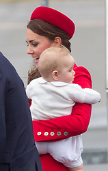 WELLINGTON- NEW ZEALAND-7-4-14: The Duke and Duchess of Cambridge, with Prince George arrive in New Zealand at the start of their Official Visit to New Zealand and Australia.WELLINGTON- NEW ZEALAND-7-4-14: The Duke and Duchess of Cambridge, with Prince George arrive in New Zealand at the start of their Official Visit to New Zealand and Australia.<br /> Photograph by Ian Jones