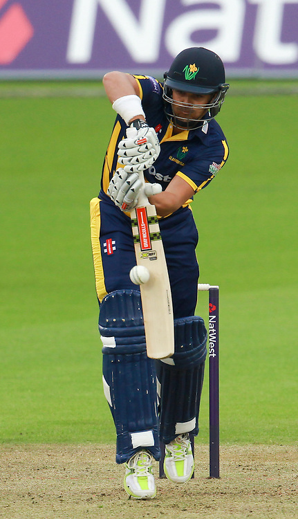 Jaques Rudolph of Glamorgan plays a defensive stroke during the Natwest T20 Blast match at the Kia Oval, London<br /> Picture by John Rainford/Focus Images Ltd +44 7506 538356<br /> 11/07/2014