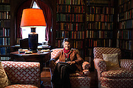 Italy, La Foce - Benedetta Origo (daughter of Iris Origo) portrayed in the library of her house inside  La foce property. Mrs Origo is the owner of La Foce.<br /> Ph. Roberto Salomone