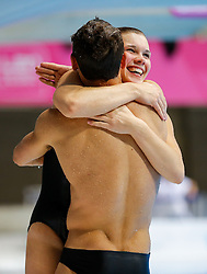Tom Daley and Grace Reid of Great Britain celebrate after winning Gold in the Mixed 3m Synchronised Springboard - Mandatory byline: Rogan Thomson/JMP - 11/05/2016 - DIVING - London Aquatics Centre - Stratford, London, England - LEN European Aquatics Championships 2016 Day 3.