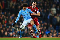 Leroy Sane of Manchester City holds off Bailey Wright of Bristol City - Mandatory by-line: Matt McNulty/JMP - 09/01/2018 - FOOTBALL - Etihad Stadium - Manchester, England - Manchester City v Bristol City - Carabao Cup Semi-Final First Leg