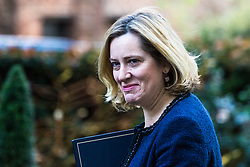 London, December 18 2017. Home Secretary Amber Rudd arrives at 10 Downing Street fora meeting of Prime Minister Theresa May's 'Brexit Cabinet'. © Paul Davey