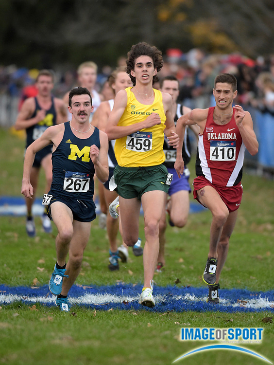 Nov 21, 2015; Louisville, KY, USA; Ben Flanagan of Michigan (267), Matthew Maton of Oregon (459) and Brandon Doughty of Oklahoma (410) compete during the 2015 NCAA cross country championships at Tom Sawyer Park. Mandatory Credit: Kirby Lee-USA TODAY Sports