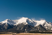 Mt. Princeton with winter blowing snow, Collegiate Peaks, Sawatch Range, Colorado