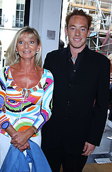 JOANNE, COUNTESS OF BRADFORD and her son the HON.HARRY BRIDGEMAN at an exhibition of photographs by Robin Douglas-Home entitled 'The Sixties Set' held at The Air Gallery, 32 Dover Street, London W1 on 28th June 2005.<br /><br />NON EXCLUSIVE - WORLD RIGHTS