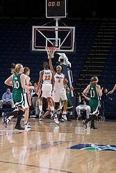 Virginia Cavaliers Center Siedah Williams (4) celebrates as Virginia advances to the 3rd round of the WNIT.  The Virginia Cavaliers women's basketball team defeated The University of North Carolina - Charlotte 49ers 74-72 in the 2nd round of the Women's NIT at John Paul Jones Arena in Charlottesville, VA on March 19, 2007.