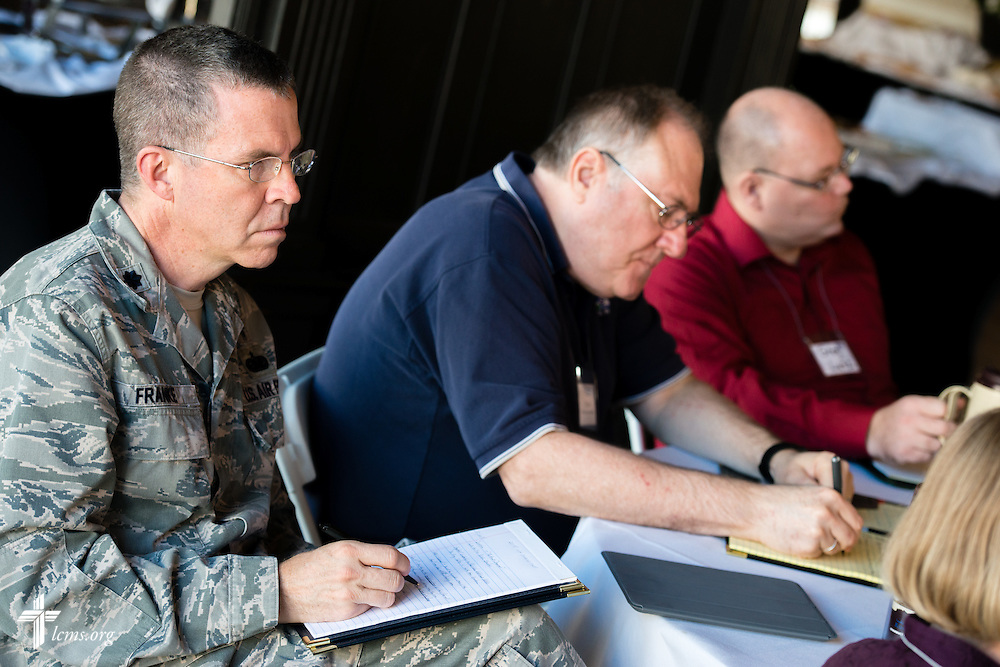 Lt. Col. Matthew Franke, chaplain at the United States Air Force Academy in Colorado Springs, Colo. (left), listens during the 2015 West Coast Lutheran Chaplains Professional Development Seminar Tuesday, Jan. 27, 2015, at North Island Naval Air Station in San Diego, Calif. LCMS Communications/Erik M. Lunsford