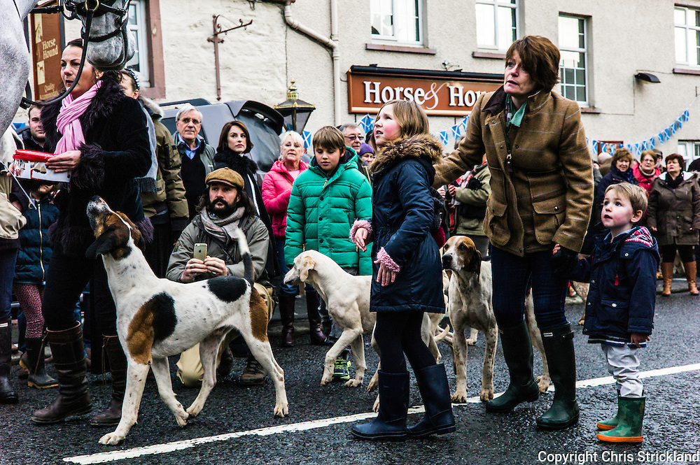 Bonchester Bridge, Hawick, Scotland, UK. 1st January 2016. The Jedforest Hunt hold their traditional New Years Day meet in Bonchester Bridge near Hawick in the Scottish Borders.