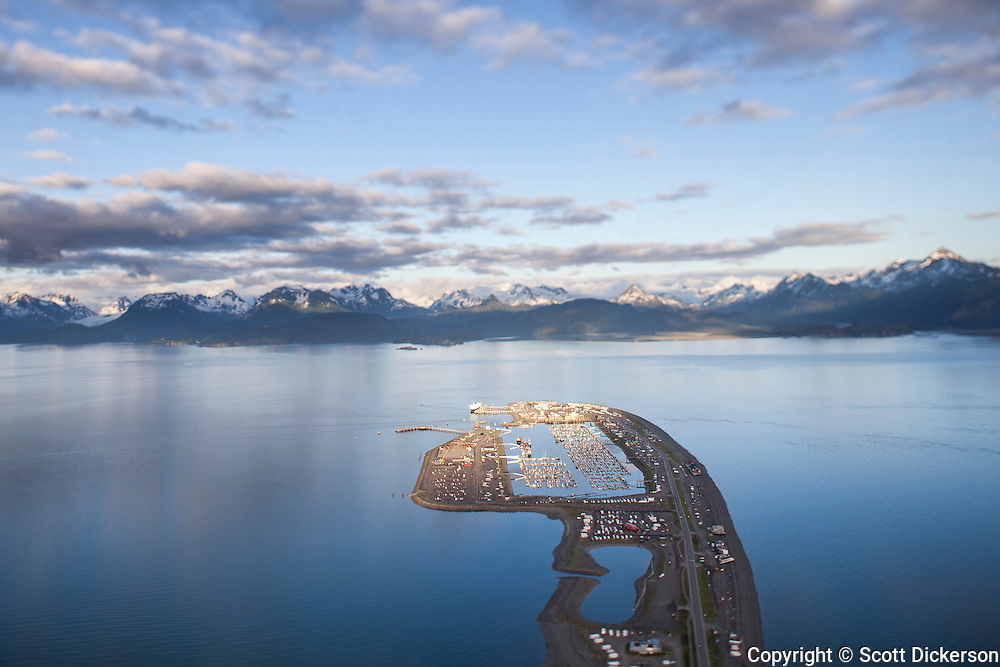 Aerial photograph of the Homer Spit in Homer, Alaska.