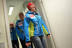 Vanja Brodnik and Marusa Ferk at press conference of Women Slovenian alpine team before the World Championship in Val d'Isere, France, on January 26, 2009, in Ljubljana, Slovenia. (Photo by Vid Ponikvar / Sportida).