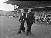 All Ireland Senior Football Championship Final, Kerry v Down, 25.09.1960, 09.25.1960, 25th September 1960, Down 2-10 Kerry 0-8, ..Most reverent Dr Morris, Archbishop of cashel and Dr JJ Stuart entering the pitch, ..Referee J Dowling (Offaly),.Captain K  Mussen,