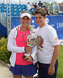 LIVERPOOL, ENGLAND - Sunday, June 21, 2015: Women's 2015 Champion Ana Bodgan (ROM) with the Boodles Trophy during Day 4 of the Liverpool Hope University International Tennis Tournament at Liverpool Cricket Club. (Pic by David Rawcliffe/Propaganda)