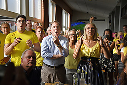 July 3, 2018 - FalköPing, Sweden - Swedish prime minister Stefan Lofven watching the FIFA World Cup 2018 when Sweden defeated Switzerland 1-0 and went on to the quarter final. Falköping, Sweden, (Credit Image: © Mattsson Stefan/Aftonbladet/IBL via ZUMA Wire)