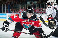 KELOWNA, CANADA - NOVEMBER 8: Rourke Chartier #14 of Kelowna Rockets faces off against the Vancouver Giants on November 8, 2014 at Prospera Place in Kelowna, British Columbia, Canada.   (Photo by Marissa Baecker/Shoot the Breeze)  *** Local Caption *** Rourke Chartier;
