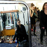 A model is reflected backstage before the Maria Grachvogel autumn 2011 collection at the Savoy Hotel Ballroom in London on 18 February 2011.