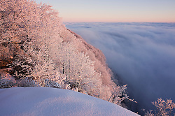 Fog, snow, clouds and sunny skies mix following a heavy snowfall at Caesars Head State Park which is part of the Mountain Bridge Wilderness area located near Cleveland, South Carolina, as seen from the overlook.