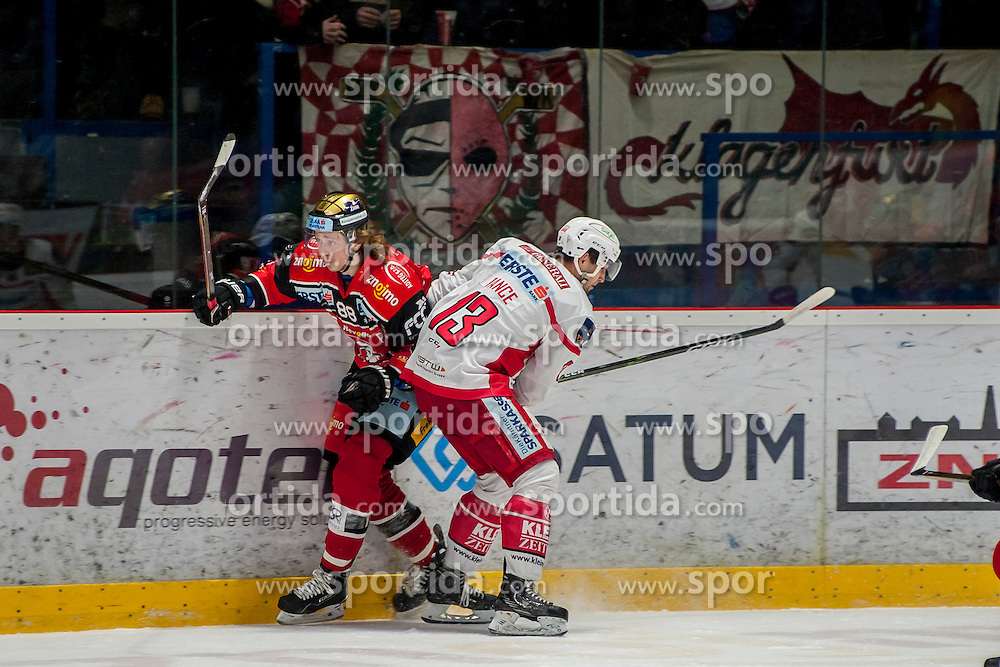13.01.2017, Ice Rink, Znojmo, CZE, EBEL, HC Orli Znojmo vs EC KAC, 43. Runde, im Bild v.l. Libor Sulak (HC Orli Znojmo) Ziga Pance (EC KAC) // during the Erste Bank Icehockey League 43th round match between HC Orli Znojmo and EC KAC at the Ice Rink in Znojmo, Czech Republic on 2017/01/13. EXPA Pictures © 2017, PhotoCredit: EXPA/ Rostislav Pfeffer